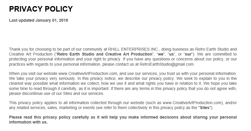 Privacy Policy | Creative Art Productions 2