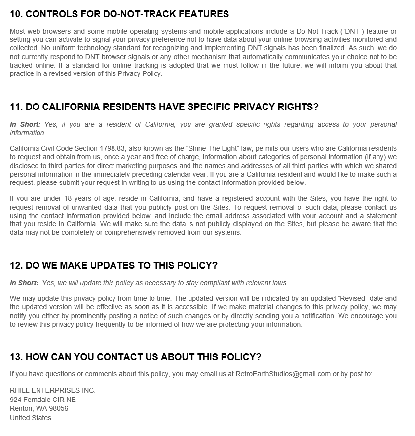 Privacy Policy | Creative Art Productions 8